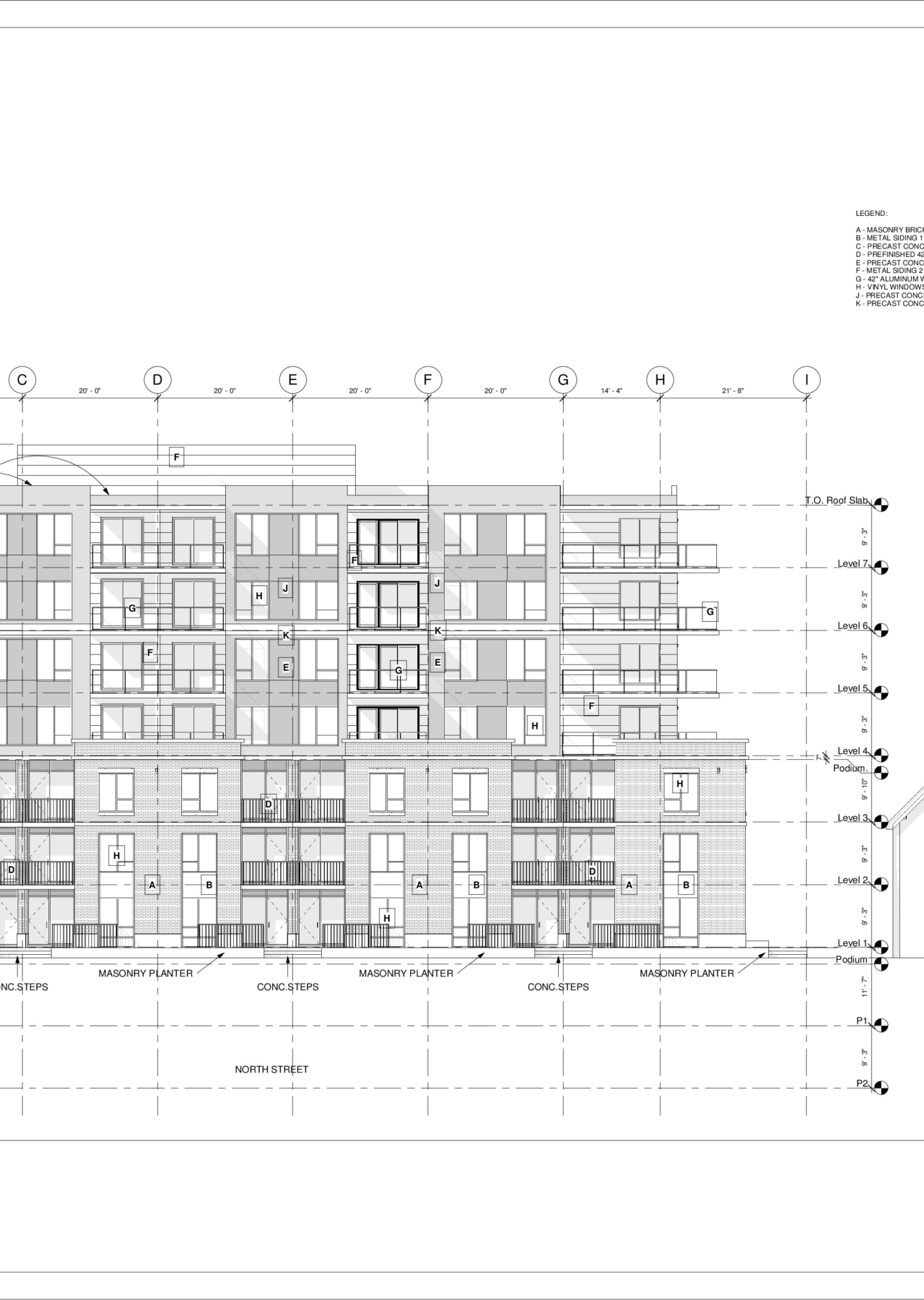3093 Oxford – North – Sheet – A4-1 – East Elevation